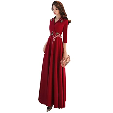 Boda Vestido De Dama De Honor Vino Rojo Sección Larga Cuello