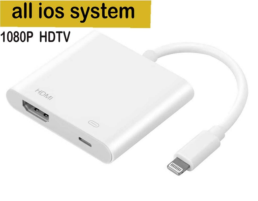 Lighting to HDMI Adapter,i-pack Lighting Digital AV Adapter Connector for iPhone ipad iPod,Converter to HD TV Monitor Projector 1080P for Phone iOS 11, iOS 12 Pad and Pod