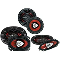 2) NEW BOSS CH6520 6.5 250W + 2) 4x6 250W + 2) 4x10 400W Car Speakers Package