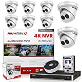 Hikvision IP Camera Kit DS-7616NI-I2/16P 16CH 4K NVR Bundle w/ 8 x DS-2CD2343G0-I 4MP 2.8mm Hikvision Turret IP Cameras Replacement Model for DS-2CD2342WD-I Genuine English Upgradeable (17 Items)
