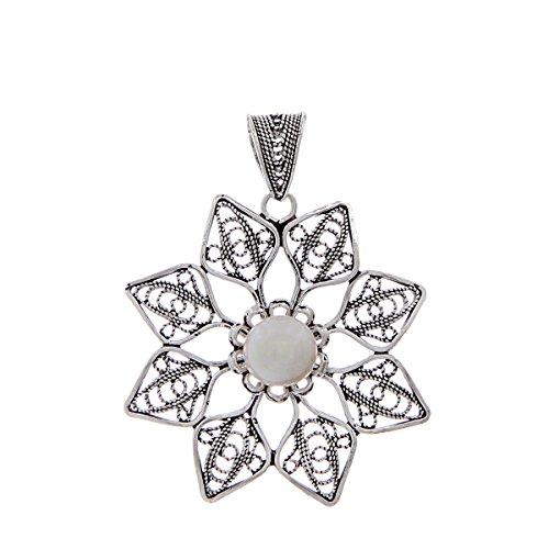 925 Sterling Silver Freshwater Cultured Pearl Filigree Flower (Filigree Flower Pendant)