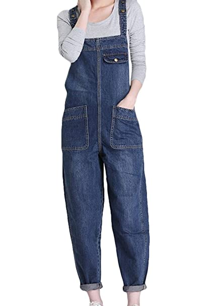 6d7deae7ede48 Amazon.com  WSPLYSPJY Women s Plus Size Baggy Bib Harem Pants Loose Denim  Jumper Overalls  Clothing