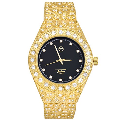 Men's Iced Out Gold Plated Nugget Metal Band Watches WM 8717 GBK