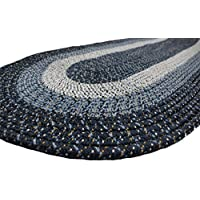 Emerald Wholesale Oval Braided Rug, 18 x 28, Navy Blue