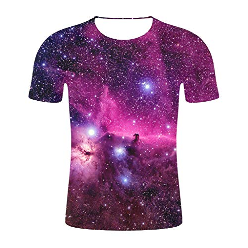 (MIS1950s Unisex 3D Colorful Print Graphic Galaxy Tee Shirts for Men Women and Teens Short Sleeve T-Shirt Tops)