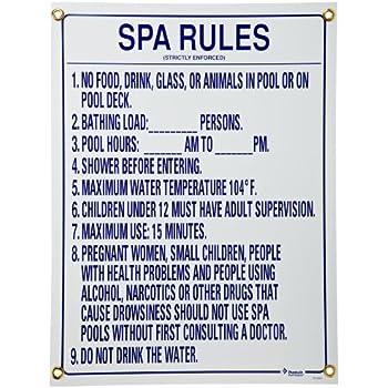 Amazon Com Pentair R230300 Spa Rules Pool Sign