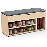 Tribesigns Shoe Storage Bench Upholstered Shoe Rack Hall Bench for Entryway, Hallway, Bedroom (Oak)