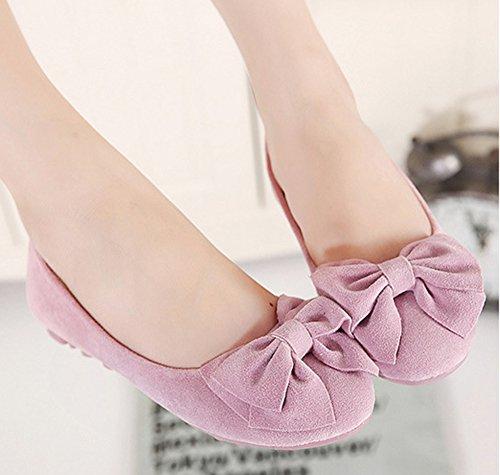 Easemax Womens Fashion Punta Rotonda Low Cut Slip On Bowknot Flats Shoes Rosa
