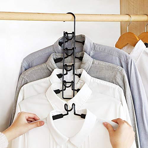 Clothes Hangers, 5 in 1 Multilayer Metal EVA Sponge Hangers Anti-Slip Clothes Rack Space Saving Detachable Hanger for Suit Coat Shirt Skirt Pants