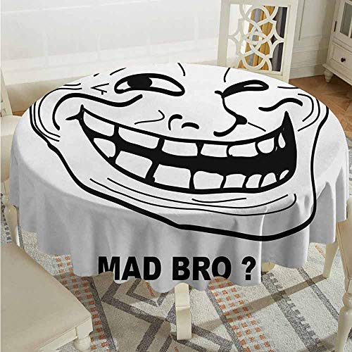 ScottDecor pad Round Tablecloth Humor Cartoon Style Troll Face Guy for Annoying Popular Artful Internet Meme Design Black and White Table Cover Diameter 70