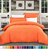 SUSYBAO 3 Pieces Duvet Cover Set 100% Natural Cotton Queen Size 1 Duvet Cover 2 Pillow Shams Solid Orange Luxury Quality Soft Breathable Hypoallergenic Fade Stain Resistant Bedding with Zipper Ties