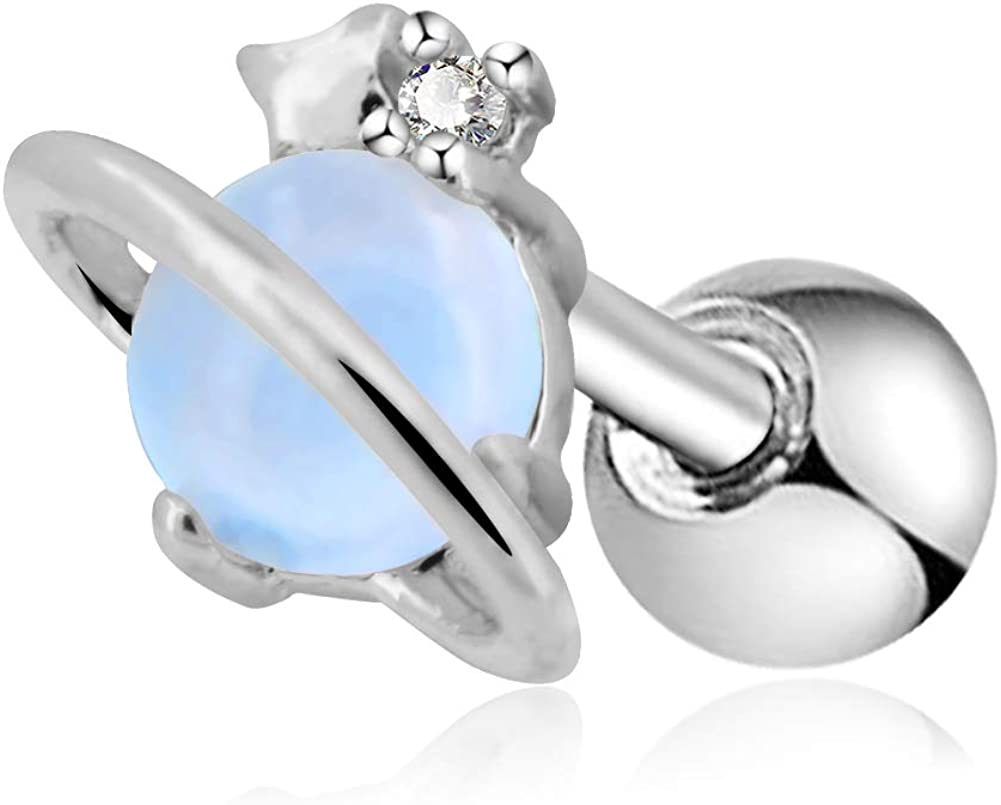 OUFER 16G Stainless Steel Cartilage Earring Air Blue Opal Stone Saturn Helix Earring
