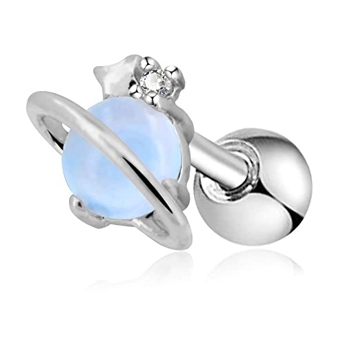b52f9bee2 Amazon.com: OUFER 16G Stainless Steel Cartilage Earring Air Blue Opal Stone  Saturn Helix Earring: Jewelry