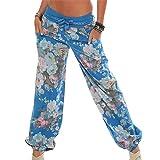 Kinrui Women's Comfy Stretch Floral Print High Waist Drawstring Palazzo Wide Leg Pants (Blue, 2XL)