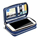 XeYOU Women 6.5inch Multi-function Zipper Leather Wallet Case with Card and Money Slots for IPhone 7 SE 5s 6s 6 Plus and Samsung Galaxy S4 S5 S6 (Royal Blue)