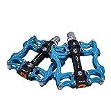"RockBros MTB Mountain Bike Pedals Flat Aluminum Alloy Platform Sealed Bearing Axle 9/16"" (Blue A)"