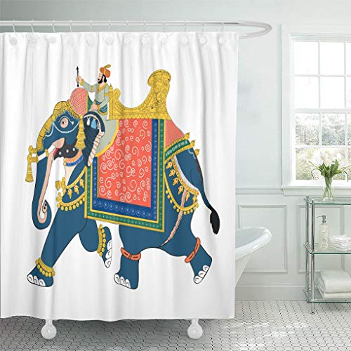(Emvency Waterproof Fabric Shower Curtain Hooks Colorful Indian of Soldier Riding Elephant Traditional Jaipur Amber Extra Long 72
