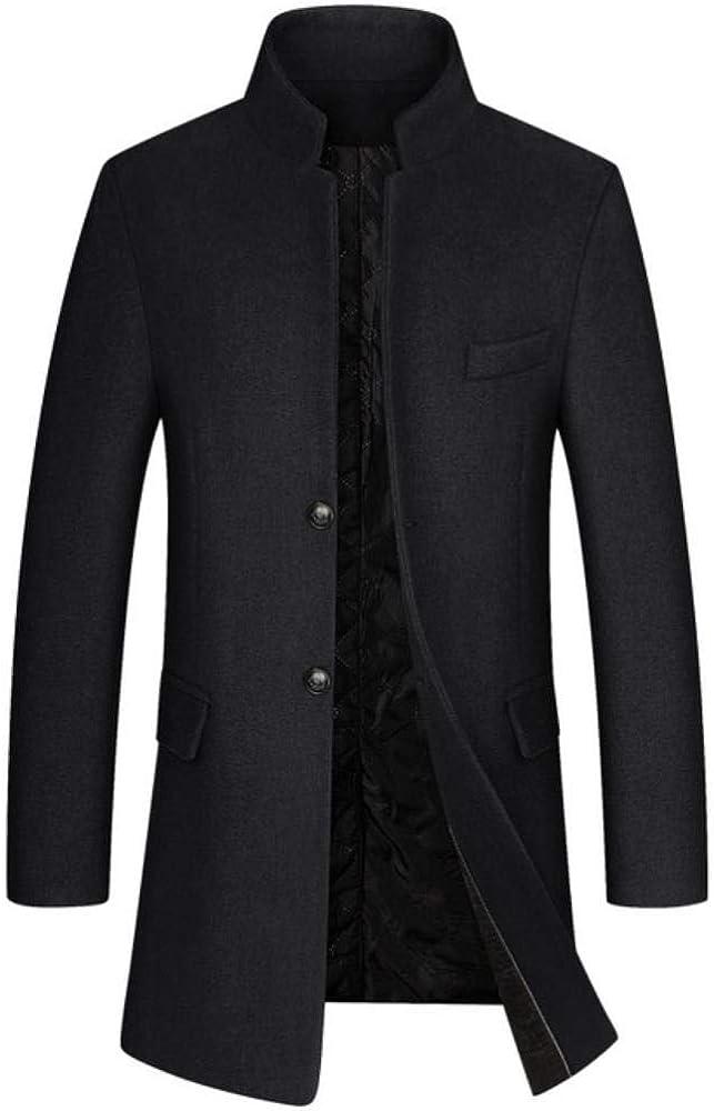 LASISZ Mens Business Winter Wool Overcoat Mens Woolen Peacoat Smart Casual Slim Long Trench Coat Black Grey Navy Blue Red