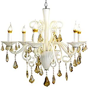 CRYSTAL WHITE CANDLELIT CHANDELIER, 98976/6