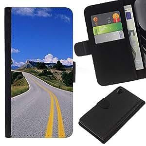 JackGot ( Carretera abierta ) Sony Xperia Z2 D6502 la tarjeta de Crédito Slots PU Funda de cuero Monedero caso cubierta de piel