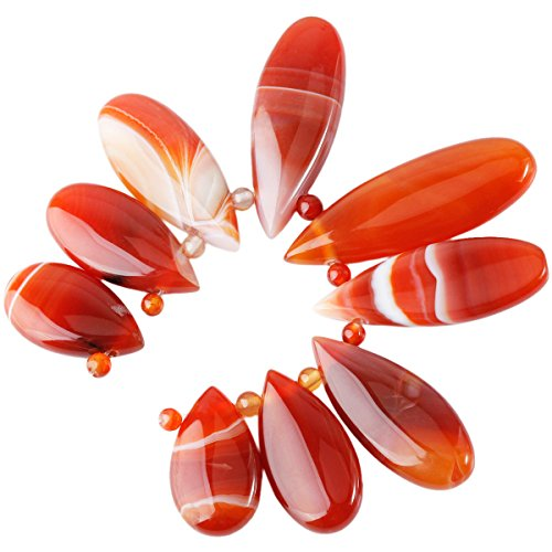 SUNYIK Sardonyx Agate Loose Bead for Jewelry Making,Teardrop Shields (Agate Slab Necklace)