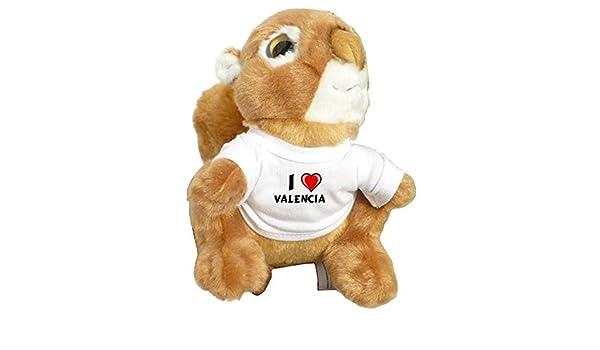 Ardilla personalizada de peluche (juguete) con Amo Valencia en la camiseta (nombre de pila/apellido/apodo): Amazon.es: Juguetes y juegos