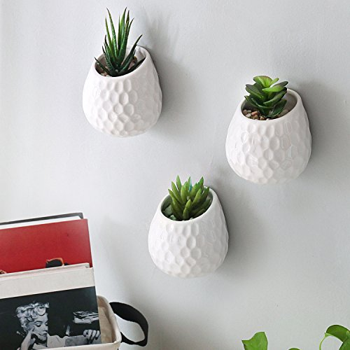 4 Inch Golf Ball-Inspired White Ceramic Wall-Mountable Mini Planters, Hanging Succulent Pots, Set of 3 by MyGift
