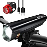 TOPTREK Bike Light Set Bicycle Lights USB Rechargeable Cycling Front Light and Back Rear Light kit Custom-made Battery 8 Hours run-time/Waterproof IPX5/Super Bright CREE LED for Mountain/Road Bike/BMX for $16.99.