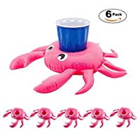 TONUNI Crab Inflatable Drink Holder Float Coaster 12-Pack