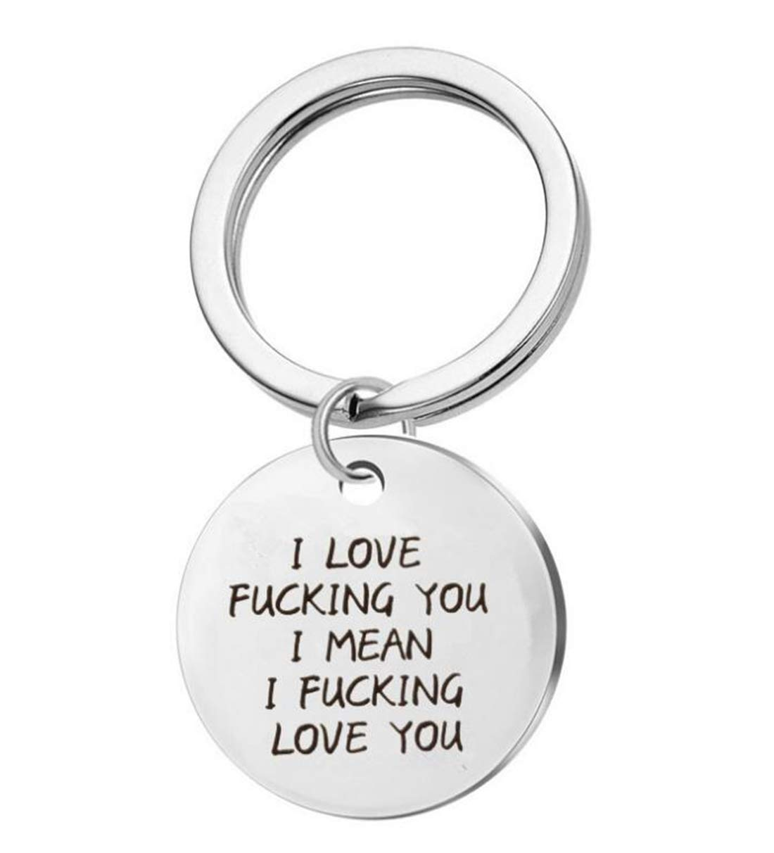 Tmrow 1Pc Valentine's Day I Love Fucking You Letter Key Chain Dog Tag Charm Couples Love Lettering Tag Jewelry