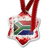 Christmas Ornament Flag on Wood South Africa, red - Neonblond