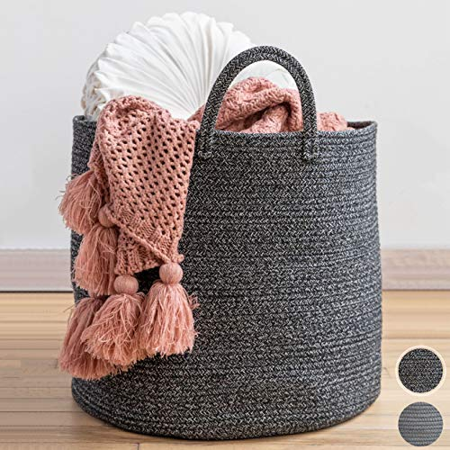 "XXL Premium Cotton Rope Basket 18""x18""x16"" - Big Basket for Blankets Living Room - Woven Laundry Basket- Black Basket - Large Blanket Basket Living Room - Storage Basket - Large Baskets for Blankets"