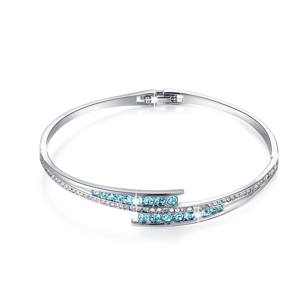 LightTheBo Bangle ❤Graduation Gifts❤ 7 Inches Bangle Bracelets White Gold Plated,Crystals from Swarovski
