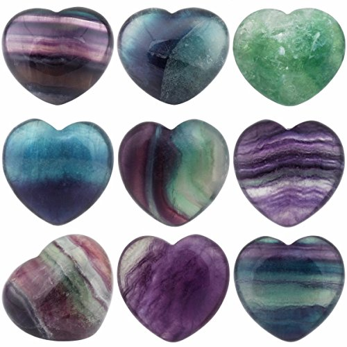 SUNYIK Natural Fluorite Carved Puff Heart Pocket Stone,Healing Palm Crystal Pack of 10(0.8