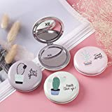 Yingealy Childrens Mirror Mini Round Cactus Pattern Small Glass Mirrors Circles for Crafts Decoration Cosmetic Accessory