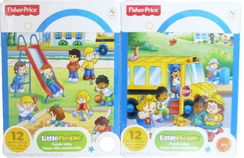 """Fisher-price """"Little People"""" 2-pack of 12-piece Puzzles - Bus/playground"""