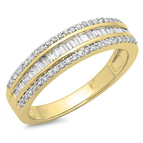 DazzlingRock Collection 0.60 Carat (ctw) 14K Yellow Gold Round & Baguette Diamond Ladies Bridal Anniversary Band Ring (Size (Baguette Anniversary Band)