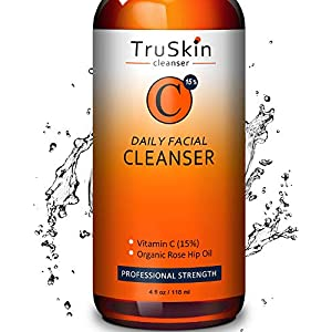 BEST Vitamin C Daily Facial Cleanser – Restorative Anti-Aging Face Wash for All Skin Types with 15% Vitamin C, Aloe Vera, MSM & Rosehip Oil