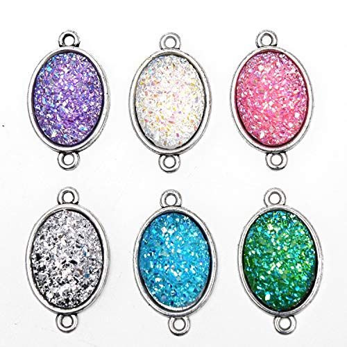 Green Charm Oval - Monrocco 12PCS Oval Resin Stone Charm Faux Druzy Quartz Jewelry Connector Fit for Necklaces Bracelets Earring