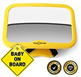 ROYAL RASCALS Baby Car Mirror for Back Seat - Safest Yellow Frame - Shatterproof Baby Mirror for Car - Rear View Baby Car Seat Mirror to See Rear Facing Infants and Babies