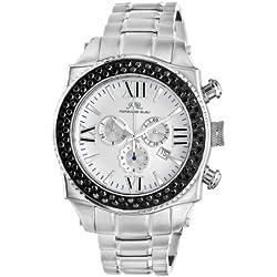 Porsamo Bleu Milan G Noir Stainless Steel Silver Tone & Black Men's Diamond Watch 073AMIS