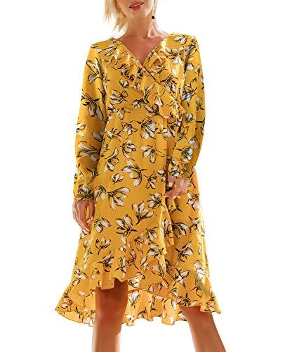 - T.SEBAN Women Casual Floral Wrap Dresses (Yellow-1, Small)