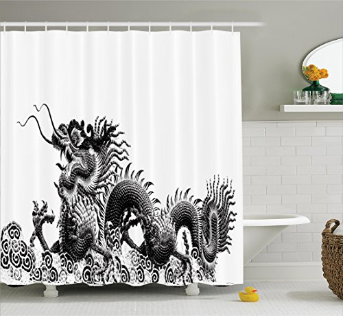 Chinese Good Luck Dragon (Ambesonne Dragon Decor Collection, Traditional Chinese Dragon Symbolize Strength and Good Luck Powers Fantasy Graphic Work, Polyester Fabric Bathroom Shower Curtain Set with Hooks, Black White)