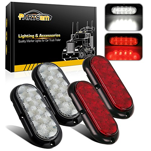 (Partsam 4Pcs 6 Inch Oval Led Trailer Tail Lights Kit 10 LED Flange Mount Waterproof 12V Sealed RV Trucks Led Stop Brake Turn Reverse Back Up Trailer Lights Surface Mount)
