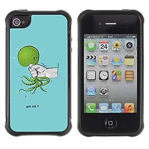 Be-Star único patrón Impacto Shock - Absorción y Anti-Arañazos Funda Carcasa Case Bumper Para Apple iPhone 4 / iPhone 4S ( Funny Got Ink Squid Octopus )