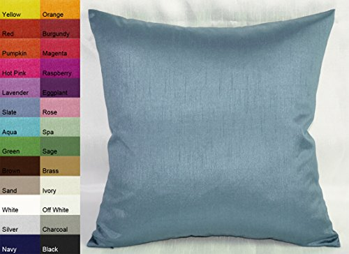 Creative Solid Euro Shams / Pillow Covers 26 by 26 - Slate Blue (Blue Euro Pillow Sham)