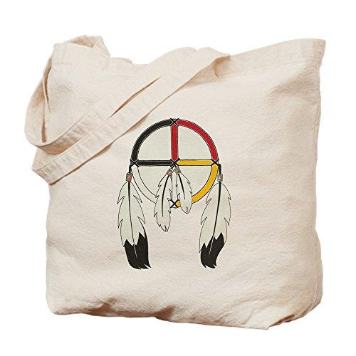 CafePress Feathered Medicine Wheel Natural Canvas Tote Bag, Cloth Shopping Bag