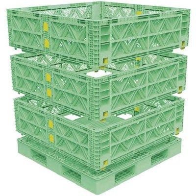 トラスコ マルチステージコンテナ メッシュ 3段 1100×1100 緑 ※取寄せ品 TMSC-M1111-GN B01CH9Y8CW