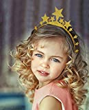 Golden Glitter Birthday Party Hat, Each Pack Include 1 Crown Hat + 5 Piece Star Hats, Child and Adult Party Hats, Party Decorations, Crown Supplies