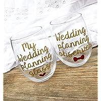 Engagement gift, engagement wine glasses